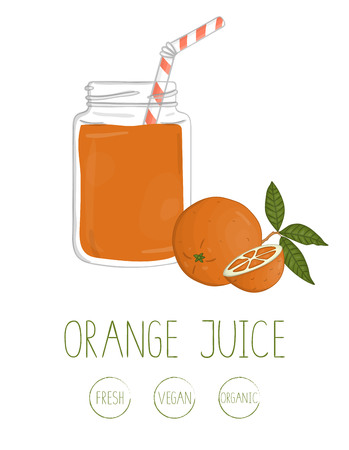 Vector illustration of orange juice in a glass jar with bending straw and orange with leaves. Colorful picture of citrus fruit. Fresh organic vegetarian food isolated on white background.