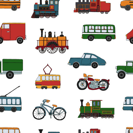 Vector colored seamless pattern of retro engines and transport. Vector repeat background of vintage trains bus, tram, trolleybus, car, bicycle, bike, van, truck isolated on white background. Cartoon style endless illustration of old means of transport for children Ilustração