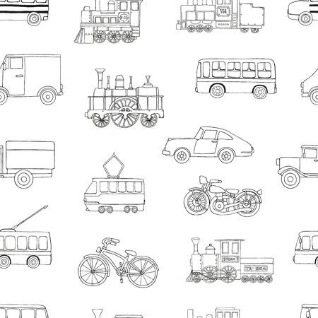 Reticolo senza giunte in bianco e nero di motori retrò e trasporto. Vector ripetere sfondo di treni d'epoca autobus, tram, filobus, auto, biciclette, bici, furgoni, camion isolati su sfondo bianco. Illustrazione infinita in stile cartone animato di vecchi mezzi di trasporto per bambini