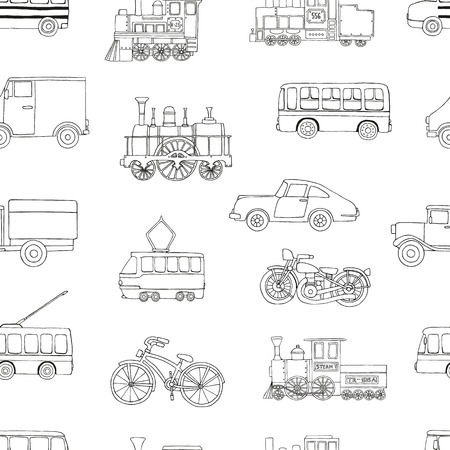 Vector black and white seamless pattern of retro engines and transport. Vector repeat background of vintage trains bus, tram, trolleybus, car, bicycle, bike, van, truck isolated on white background. Cartoon style endless illustration of old means of transport for children