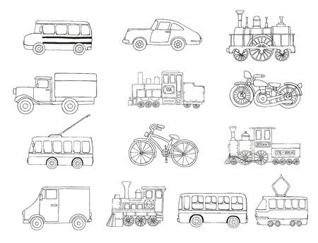 Insieme di vettore in bianco e nero di motori retrò e trasporti. Illustrazione vettoriale di treni d'epoca, autobus, tram, filobus, auto, biciclette, bici, furgoni, camion isolati su sfondo bianco. Illustrazione in stile cartone animato di vecchi mezzi di trasporto