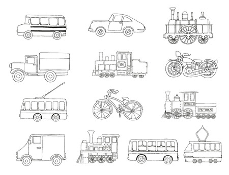 Vector black and white set of retro engines and transport. Vector illustration of vintage trains, bus, tram, trolleybus, car, bicycle, bike, van, truck isolated on white background. Cartoon style illustration of old means of transport