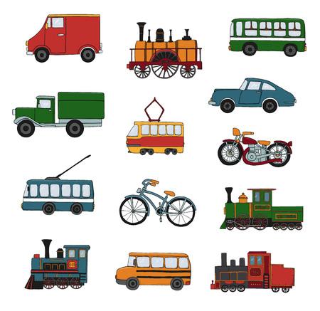 Insieme colorato di vettore di motori retrò e trasporto. Illustrazione vettoriale di treni d'epoca, autobus, tram, filobus, auto, biciclette, bici, furgoni, camion isolati su sfondo bianco. Illustrazione in stile cartone animato di vecchi mezzi di trasporto