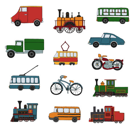 Vector colored set of retro engines and transport. Vector illustration of vintage trains, bus, tram, trolleybus, car, bicycle, bike, van, truck isolated on white background. Cartoon style illustration of old means of transport Vectores