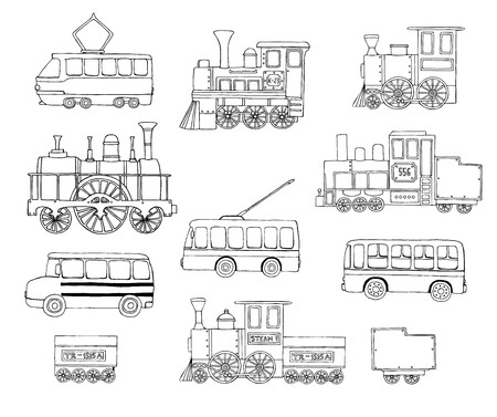 Vector black and white set of retro engines and public transport. Vector illustration of vintage trains, bus, tram, trolleybus isolated on white background. Cartoon style illustration of old means of transport Ilustración de vector