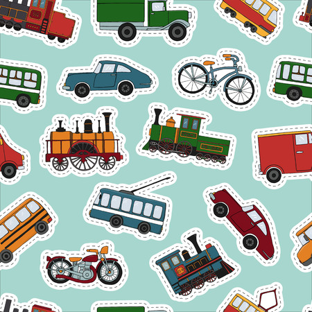 Vector colored seamless pattern of retro engines and transport stickers. Vector repeat background of vintage trains bus, tram, trolleybus, car, bicycle, bike, van, truck isolated on blue background. Cartoon style endless illustration of old means of transport for children