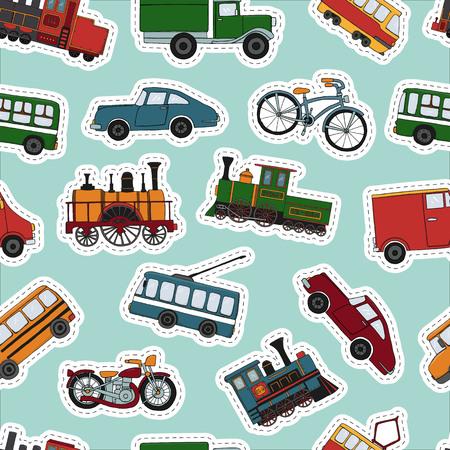 Vektor farbiges nahtloses Muster von Retro-Motoren und Transportaufklebern. Vektorwiederholungshintergrund von Vintage-Zügen, Bus, Straßenbahn, Oberleitungsbus, Auto, Fahrrad, Fahrrad, Lieferwagen, LKW einzeln auf blauem Hintergrund. Endlose Illustration im Cartoon-Stil von alten Transportmitteln für Kinder