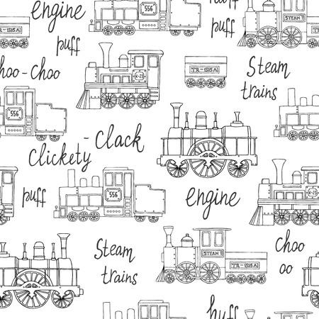 Patrón transparente de vector blanco y negro de motores retro. Fondo de repetición de vector de trenes antiguos aislados sobre fondo blanco. Ilustración interminable de estilo de dibujos animados de trenes antiguos para niños