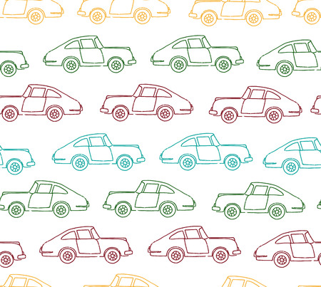 Vector seamless pattern of textured retro cars. Vector repeat background of vintage colored transport isolated on white background. Cartoon style endless illustration of old means of transport for children