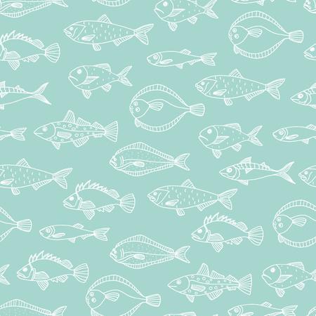 Reticolo senza giunte di contorni di pesce bianco isolato su priorità bassa blu. Sfondo ripetuto con halibut, scorfano, sgombro, aringa, pesce piatto, spratto, cernia, merluzzo. Illustrazione d'epoca subacquea