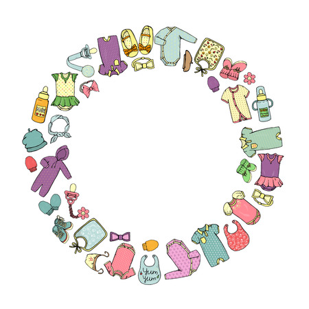 Vector colored illustration of baby clothes and accessories framed in circle. Template for banner with isolated footie, hat, headband, mittens, pacifier, romper, Vektoros illusztráció