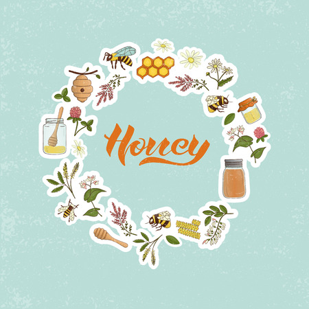 Vector colored set of honey elements framed in circle. Natural organic honey vector banner with lettering. Colorful honey stickers collection isolated on textured background.