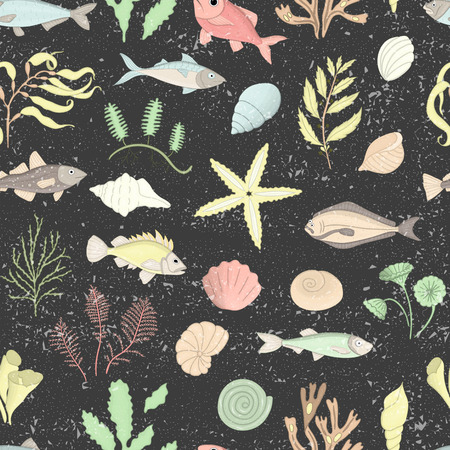 Vector colored seamless pattern of sea shells, fish, seaweeds isolated on black textured background. Colorful repeating marine background. Underwater vintage illustration