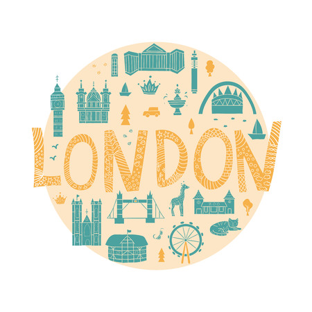 Vector hand drawn London attractions in cartoon style framed in circle. Main English sightseeing and places of interest. Background for travel guide or poster. Cute London illustration.