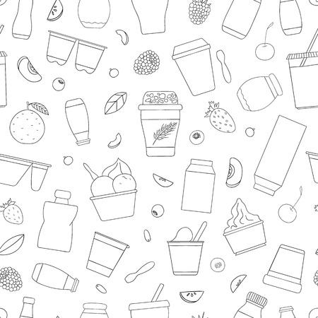 Vector seamless pattern of different kinds of yoghurt with fruit and berry. Hand drawn repeating background of organic fresh dairy products. Natural food line drawing collection.
