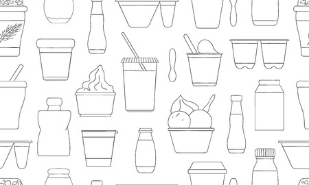 Vector seamless pattern of different kinds of yoghurt. Hand drawn repeating background of organic fresh dairy products. Natural food line drawing collection. Ilustração