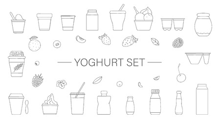 Insieme di vettore di diversi tipi di yogurt con frutta e bacche. Insieme disegnato a mano di prodotti lattiero-caseari freschi biologici isolati su priorità bassa bianca. Collezione di disegni di alimenti naturali. Illustrazione in bianco e nero Vettoriali