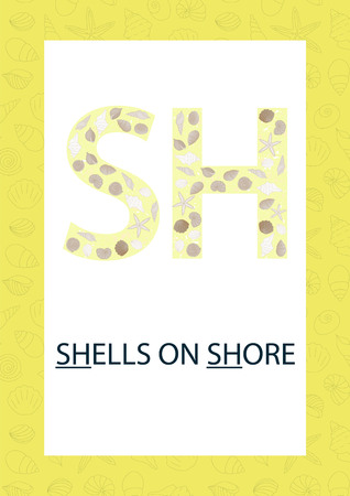 Colorful alphabet letter S. Phonics flashcard. Cute SH sound for teaching reading with cartoon style shells on sandy background