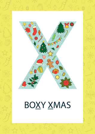 Colorful alphabet letter X. Phonics flashcard. Cute letter X for teaching reading with cartoon style Christmas tree, balls, gingerbread, garland, Santa's hat, holly, poinsettia, cracker,