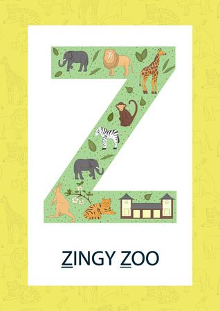 Lettre de l'alphabet coloré Z. Phonics flashcard. Jolie lettre Z pour enseigner la lecture avec zoo de style dessin animé, tigre, girafe, lion, singe, zèbre, éléphant, kangourou. Vecteurs