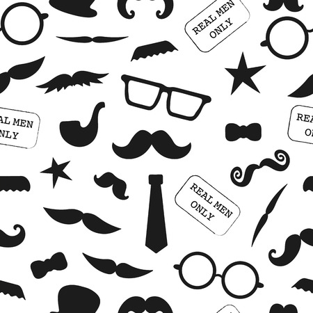 Vector seamless pattern of photo booth props. Repeating background of moustache, glasses, pipe, hat, bow, tie for holiday or party. Moustache season backdrop. Real men background for father's day Vettoriali
