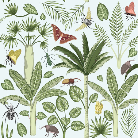 Vector seamless pattern with tropical plants and insects. Vintage summer cute repeat backdrop. Exotic jungle wallpaper