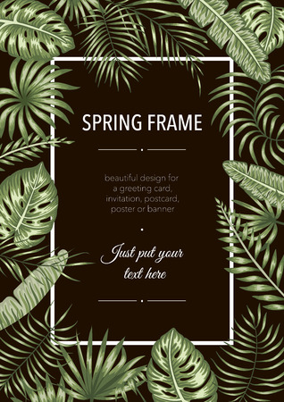 Vector frame template with tropical leaves on black background. Vertical layout card with place for text. Spring or summer design for invitation, wedding, party, promo events.