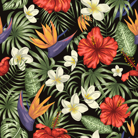 Vector seamless pattern of green tropical leaves with plumeria, strelitzia and hibiscus flowers on black background. Summer or spring repeat tropical backdrop. Exotic jungle ornament