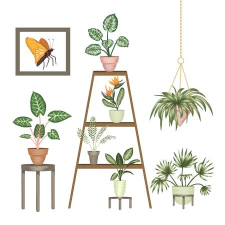 Vektor-Illustration von tropischen Zimmerpflanzen in Töpfen auf einem Ständer isoliert auf weißem Hintergrund. Helle realistische Monstera, Alocasia, Dieffenbachia, Cordyline. Designelemente für die Inneneinrichtung.