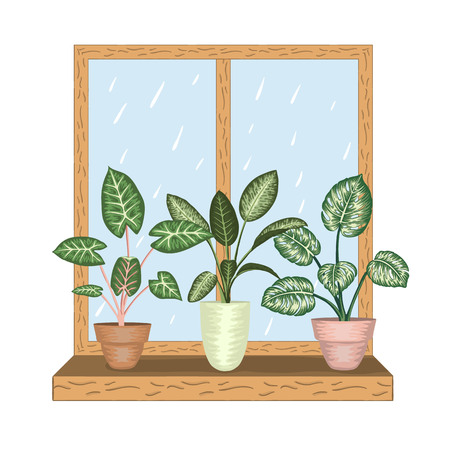 Window with tropical houseplants in pots. Rainy weather view. Watercolor style.