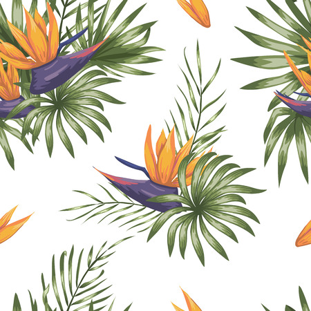 Vector seamless pattern of green tropical leaves with strelitzia flowers isolated on white background. Summer or spring repeat tropical backdrop. Trendy exotic jungle ornament. Иллюстрация