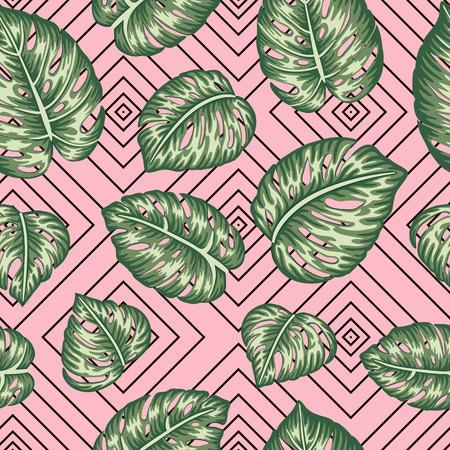 Vector nahtloses geometrisches Muster mit grünen Monsterablättern auf rosa Hintergrund. Wiederholen Sie die tropische Kulisse. Trendige exotische Dschungeltapete.