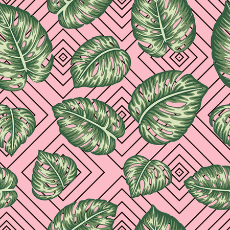 Vector seamless geometric pattern with green monstera leaves on pink background. Repeat tropical backdrop. Trendy exotic jungle wallpaper.
