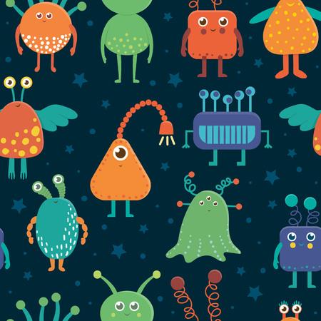 Vektornahtloses Muster von netten Ausländern für Kinder. Helle und lustige flache Illustration von lächelnden außerirdischen Kreaturen auf blauem Hintergrund. Weltraumbild für Kinder.