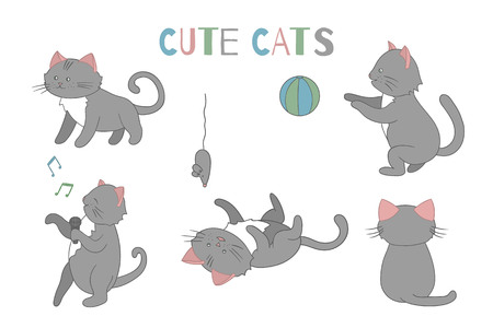 Vector set of cute cartoon style cat in different poses. Animal character illustration for children. Hand drawn line drawings of funny kitten. Big collection of pets for kids, coloring, animation. Vetores