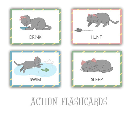 Vector set of actions flash cards with cat. Cute character swimming, hunting, sleeping, drinking. Cards for early learning.