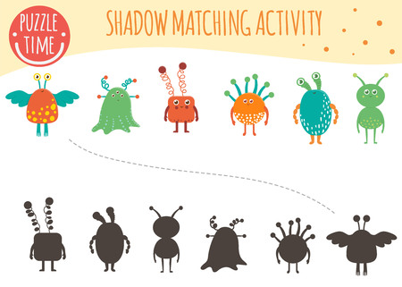 Shadow matching activity for children. Space topic. Cute funny smiling aliens.