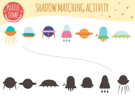 Shadow matching activity for children. Space topic. Cute funny ufo and flying saucers. Illustration