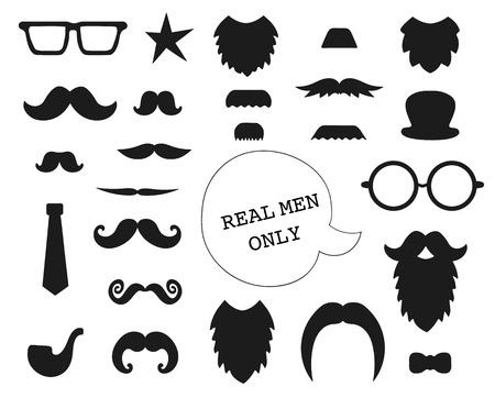 Set vettoriale di baffi, barba, occhiali, cappello, cravatta, pipa, fiocco. Raccolta di elementi per la festa del papà. ClipArt a tema maschile. Oggetti di scena per fototessere per vacanze o feste. Vettoriali