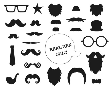 Vector set of mustache, beard, glasses, hat, tie, pipe, bow. Collection of elements for Father's Day. Male theme clip art. Photo booth props for holiday or party. Vetores