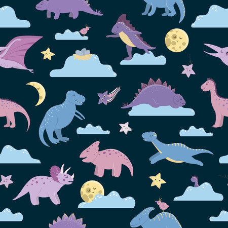 Vector seamless pattern with cute dinosaurs on night sky with clouds, moon, stars, birds for children. Dino flat cartoon characters background. Cute prehistoric reptiles illustration.
