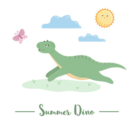 Illustration with dino running for a butterfly under the sun. Summer scene with cute dinosaur. Funny prehistoric reptiles print for children Illustration
