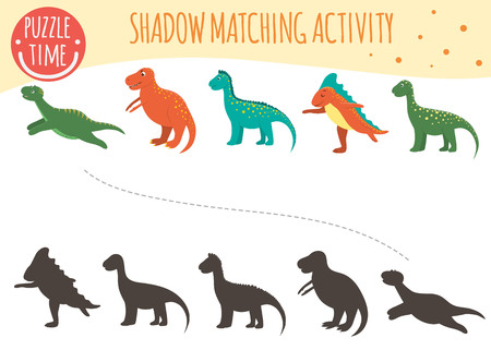 Shadow matching activity for children. Dinosaur topic. Cute funny smiling dinos.