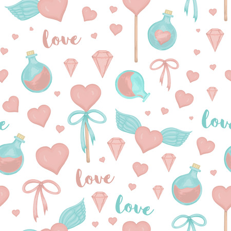 Vector seamless pattern with lollipop hearts, bows, magic potion, wings on white background. Cute magical love watercolor style repeat background Ilustracja