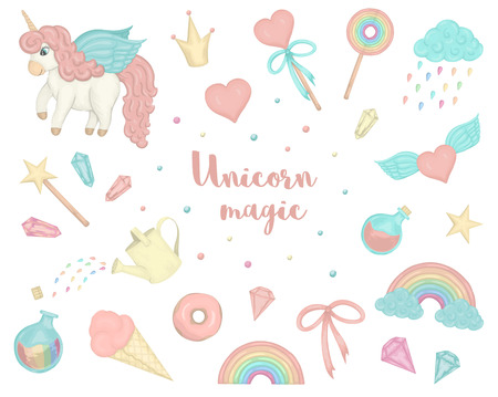 Vector set of cute watercolor style unicorns, rainbow, clouds, donuts, crown, crystals, hearts. Sweet girlish illustration. Fairytale repeat background. Good for textile, stationery, prints, banners, patches.
