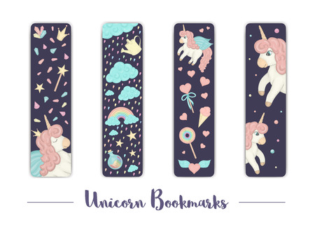 Vector set of bookmarks for children with unicorn theme. Cute rainbow, clouds, crystals, hearts on dark purple background. Vertical layout card templates. Stationery for kids. Sweet girlish illustration.