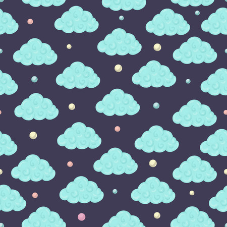 Vector seamless pattern with clouds and colored circles. Magical unicorn themed repeat background. Good for children textile, clothes, stationery, baby shower Vektoros illusztráció