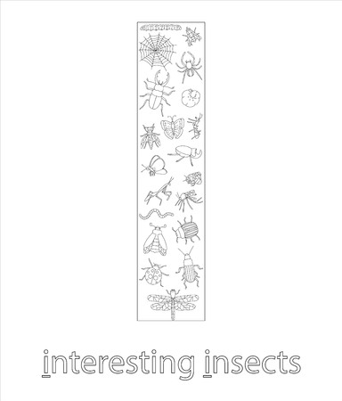 Black and white alphabet letter I. Phonics flashcard. Cute letter I for teaching reading with cartoon style insects. Coloring page for children.