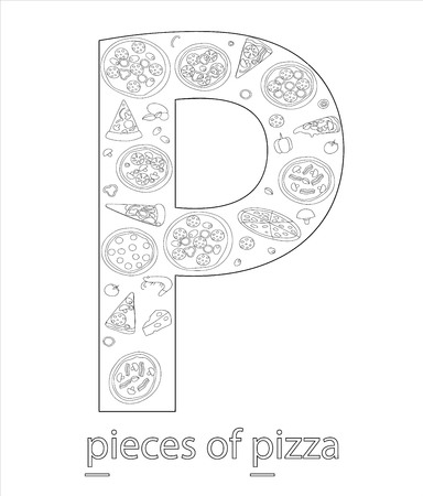 Black and white alphabet letter P. Phonics flashcard. Cute letter P for teaching reading with cartoon style pieces of pizza. Coloring page for children.
