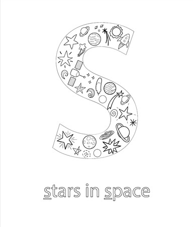 Black and white alphabet letter S. Phonics flashcard. Cute letter S for teaching reading with cartoon style stars in space, planets, rockets. Coloring page for children. Ilustração